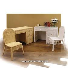 Rattan Desk Chair Amazon Com White Wicker Desk With File Drawer And Chair Set