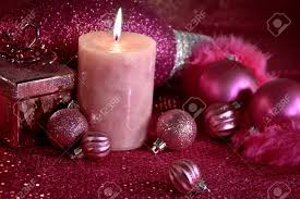pink christmas decorations with feather garland ornaments