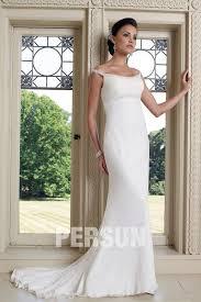 robe de mari e l gante robe de mariée colonne moulante élégante à épaule nue à traîne de
