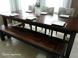 DIY Farmhouse Table And Bench Domestic Imperfection - Dining room table bench