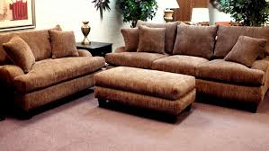 Loveseat Ottoman Brown Tone Over Sized Love Seat And Rectangle Upholstered Ottoman