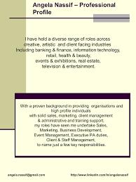 Proffesional Profile Professional Profile Angela U0027s Cv