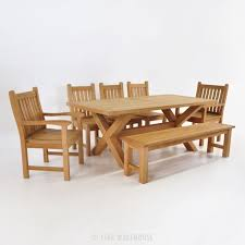 Outdoor Dining Set With Bench Teak Dining Set X Leg Table With Bench U0026 5 Chairs Teak Warehouse
