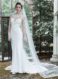 high neck long sleeve see through tulle lace wedding dress with belt