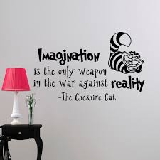 Wall Stickers Cats Alice In Wonderland Wall Decal Quote Imagination Is The Only