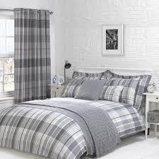 Tartan Flannelette Duvet Cover Bedroom Striped Curtain Design For Modern Bedroom Decoration