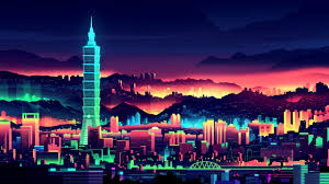 Colorful City Artwork City Colorful Taipei Taiwan Glowing Neon