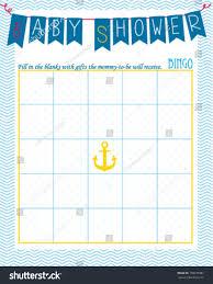 baby shower bingo game template sailor stock vector 178670987