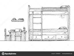 Bunk Bed Drawing Children S Room Children S Furniture Bunk Bed Table And Two
