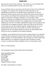 letter from the district project 2021 thank you skaneateles