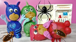 pj masks play doh bugs stop motion owlette gekko catboy
