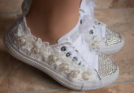 wedding shoes converse wedding converse trainers with crystals lace pearls wedding