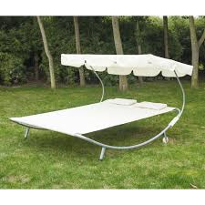 outsunny double swing lounger bed cream white aosom co uk