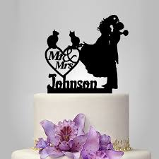 wedding topper 2017 personalized acrylic happy with 2 cats wedding cake