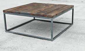 reclaimed wood coffee table steel base industrial table