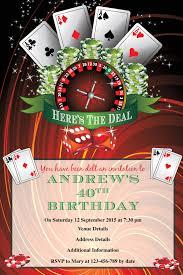poker u0026 roulette birthday digital printable invitation template