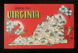 Charlottesville Zip Code Map by 1967 State Map Of Virginia Landmarks Icons Cardinal Dogwood Va