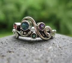 unique mothers rings unique multi mothers ring 4 or 5 birthstones set in