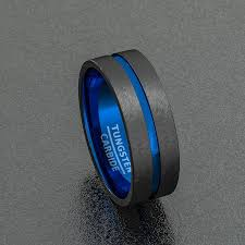 mens blue wedding bands tungsten wedding band two tone 8mm black mens ring center blue
