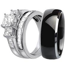 wedding ring set his and hers his hers 3 pcs black titanium matching band three princess