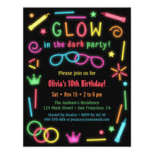 glow in the birthday party faux glow in the birthday party invitations zazzle