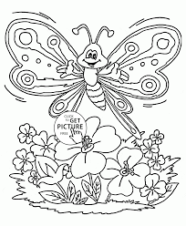 cute spring butterfly coloring page for kids seasons coloring