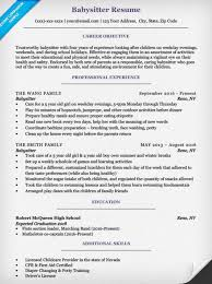 Objective In Resume Samples by Babysitter Resume Sample U0026 Writing Tips Resume Companion