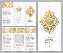 ornate vintage booklet with line art floral decor golden outline