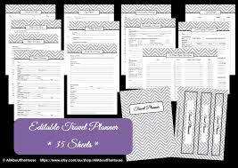 Grey editable travel planner kit chevron printable pdf