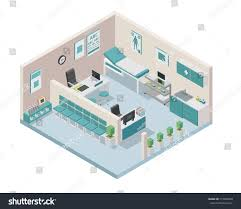 modern isometric doctor clinic interior design stock vector