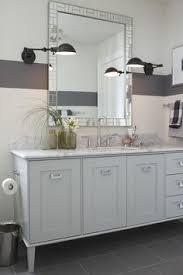bathrooms silver gray walls beveled mirror white bathroom vanity