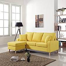Yellow Sectional Sofa Amazon Com Large Black Leather Modern Contemporary Upholstered