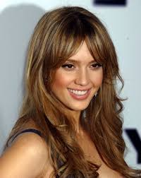 brown hair with caramel highlights from jessica alba 2017