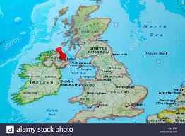 Map If Europe Belfast Northern Ireland U K Pinned On A Map Of Europe Stock