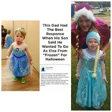 viral father and son go as queen elsa and princess anna for