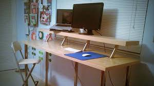 Diy Stand Up Desk Ikea Build A Diy Wide Adjustable Height Ikea Standing Desk On The