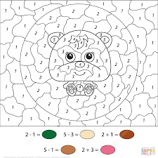 cartoon bear color number free printable coloring pages