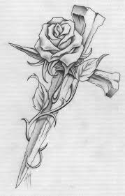 design flower rose drawing rose and cross tattoo design debra s board pinterest cross