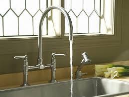 kitchen bridge faucets k 7337 4 hirise deck mount bridge kitchen sink faucet 5 kitchen