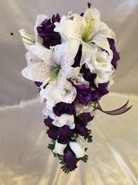 purple and white wedding purple white wedding bridal bouquet cascade silk flower
