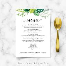 wedding menu cards wedding menu cards printable templates in the attic