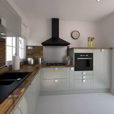 cuisine au bois cuisine équipée grise au style traditionnel implantation en l plan