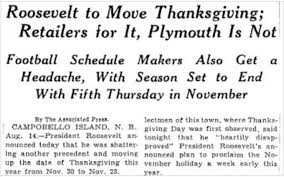 the year we celebrated thanksgiving two weeks in a row history