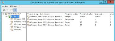 service bureau distance problème gestionnaire de licence rdp windows 2012