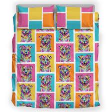australian shepherd fabric australian shepherd dog breed bedding set colorful rectangles