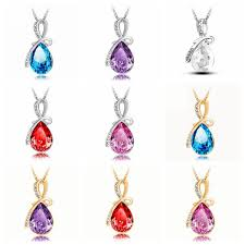 crystal drop pendant necklace images Rhinestone crystal water drop pendant necklace for women at banggood jpg