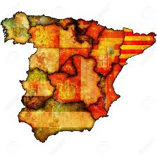 Flags In Spanish Catalonia Region On Administration Map Of Regions Of Spain With