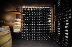 basement wine cellar with block wine rack contemporary basement