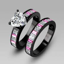 black wedding band sets pink and black wedding rings wedding corners