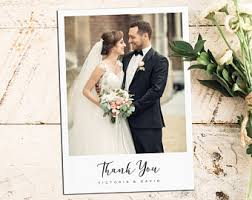 photo wedding thank you cards wedding thank you cards etsy